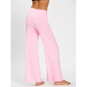 Wide High Waistband Plain Flare Pants - PINK M
