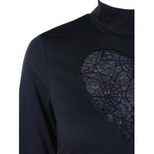 Halloween High Neck Spider Web Cut Out Tee - BLACK L
