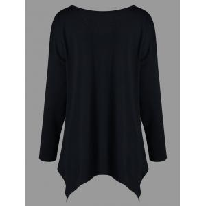 Plus Size Long Sleeve V Neck Tee - BLACK 2XL