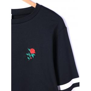 Pullover Stripes Floral Embroidered Drop Shoulder Sweatshirt - WHITE AND BLACK XL