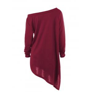 Halloween Plus Size Graphic Asymmetric Skew Neck Sweatshirt - WINE RED 3XL