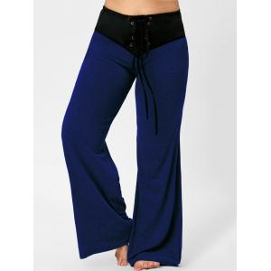 Lace-up Plus Size Two Tone Flare Pants -