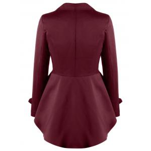 Notched Collar Button Up High Low Coat - DARK RED L