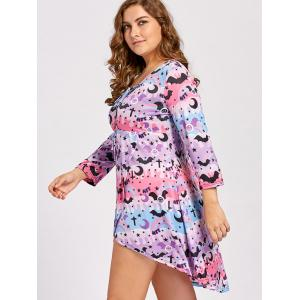 Lace Up High Low Plus  Size Halloween Dress - PINK AND PURPLE 3XL
