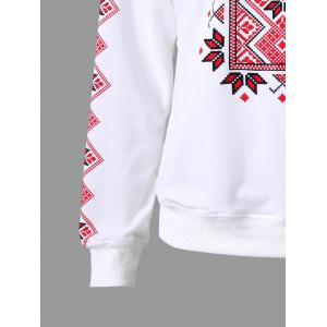 Raglan Sleeve Tribal Print Sweatshirt - WHITE XL