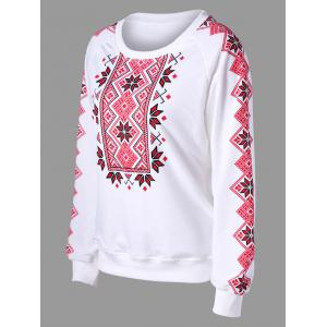 Raglan Sleeve Tribal Print Sweatshirt - WHITE 2XL