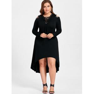 High Low Cold Shoulder Plus Size Midi Dress -