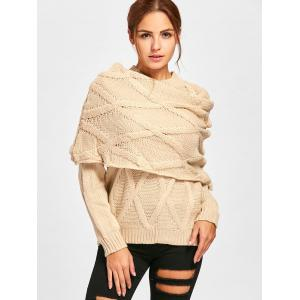 Pullover Cable Knit Long Sleeve Sweater with Scarf -