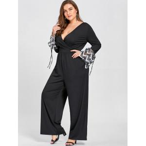 Plus Size Lace Cuff Plunging Jumpsuit -