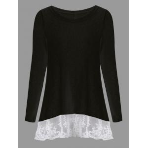 Long Sleeve Back Bowknot Lace Panel Knit Top - BLACK 2XL