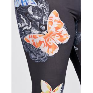 Plus Size Butterfly Print High Waisted Leggings -