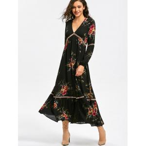 Empire Waist Floral Print Maxi Dress - BLACK 2XL