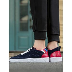Round Toe Color Block Canvas Skate Shoes -
