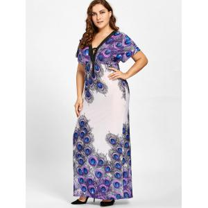 Plus Size Empire Waist Peacock Feather Print Dress -