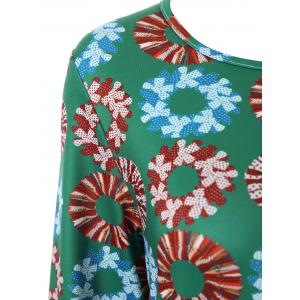 Plus Size Christmas Garland Print Dress -