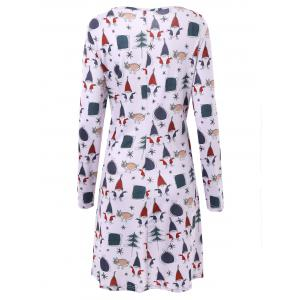 Plus Size Christmas Father Print Long Sleeve Dress -