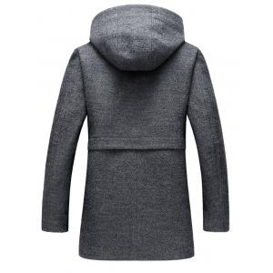 Zip Up Hooded Wool Blend Coat -
