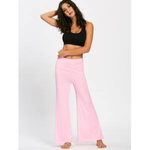 Wide High Waistband Plain Flare Pants -