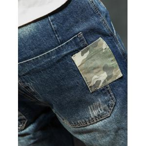 Loose Fit Camouflage Panel Pocket Harem Jeans -