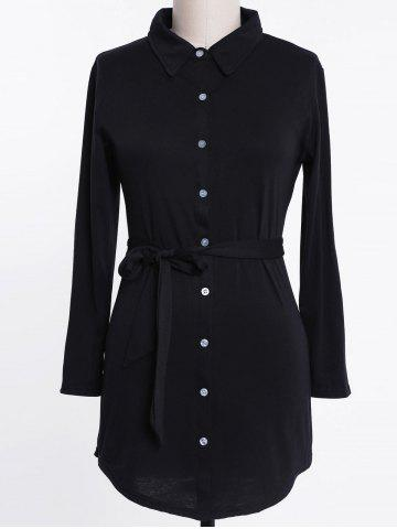 Fashion Long Sleeve Plus Size Button Up Shirt Dress