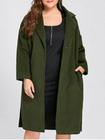 New Plus Size Belted Slit Wool Blend Trench Coat - 2XL ARMY GREEN Mobile