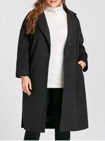 Chic Plus Size Belted Slit Wool Blend Trench Coat BLACK 3XL