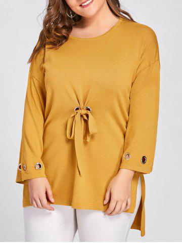 Shops Side Slit High Low Plus Size Sweater - ONE SIZE GINGER Mobile