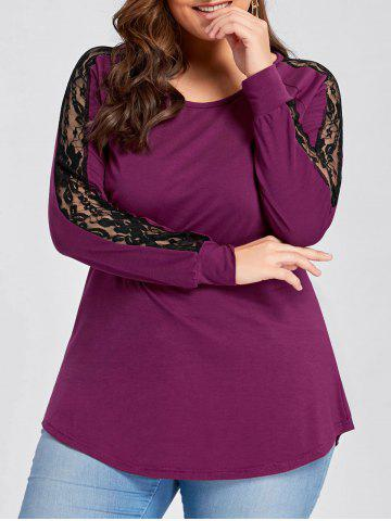 Fancy Plus Size Raglan Sleeve Lace Panel Tee - 3XL ROSE RED Mobile