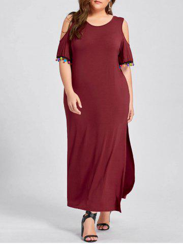 Trendy Plus Size Pom Cold Shoulder Slit Maxi Dress - XL WINE RED Mobile