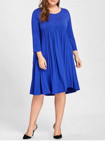 Fashion Plus Size Knee Length Empire Waist Dress - 3XL BLUE Mobile