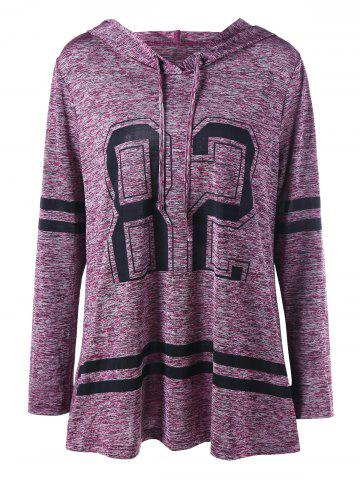 Discount Plus Size Graphic Marled Tunic Hoodie PURPLISH RED XL
