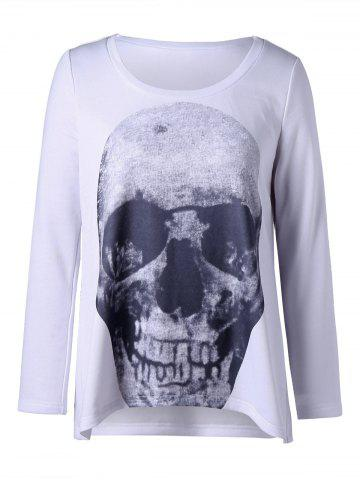 Hot Plus Size Skull Long Sleeve Top WHITE XL