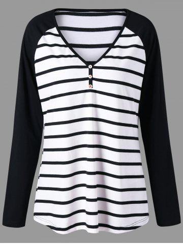 Hot Plus Size Striped Raglan Sleeve Top - 3XL BLACK STRIPE Mobile