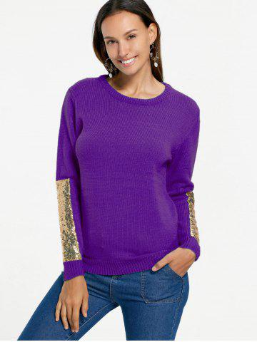 Sequin Insert Pullover Knit Sweater