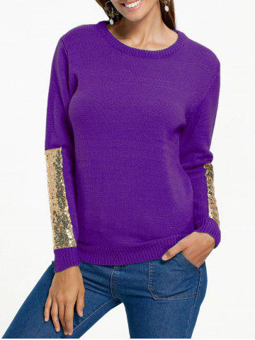 Latest Sequin Insert Pullover Knit Sweater PURPLE 2XL