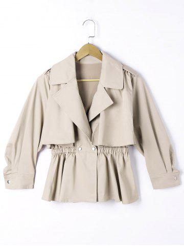 Shops Long Sleeve Epaulet Elastic Waist Overlay Jacket - M LIGHT KHAKI Mobile