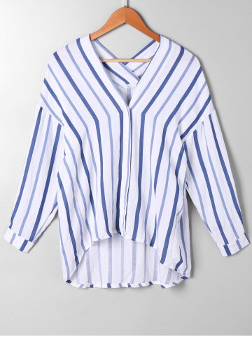 Discount Striped Drop Shoulder High Low Blouse BLUE STRIPE L