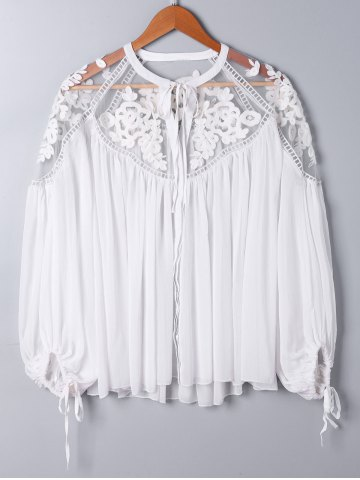 Buy Lace Panel Floral Embroidered Oversize Top - XL WHITE Mobile