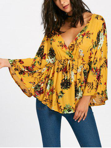 Fashion Plunging Neckline Batwing Sleeve Flower Surplice Blouse - S MUSTARD Mobile
