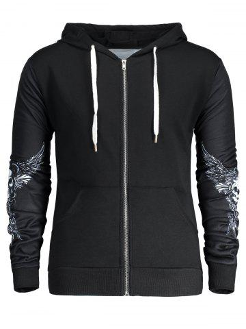 Online Halloween Skull Wings Print Zip Up Hoodie - 2XL BLACK Mobile