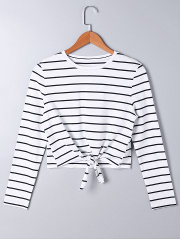 Unique Front Knot Long Sleeve Striped Top - L STRIPE Mobile