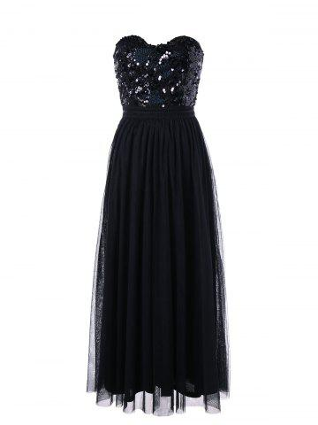 Buy Sequin Strapless Maxi Evening Party Dress - 2XL BLACK Mobile