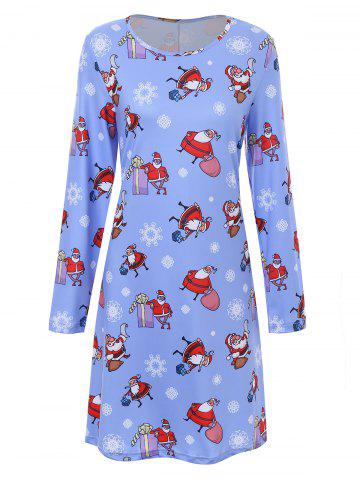 New Plus Size Father Christmas Snowflake Printed Dress CLOUDY 2XL