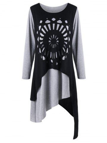 Best Plus Size Openwork Asymmetrical Tee Dress - XL BLACK AND GREY Mobile
