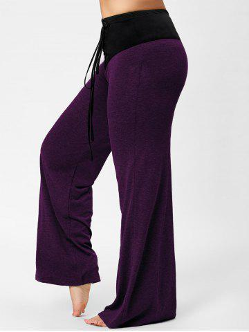 Buy Lace-up Plus Size Two Tone Flare Pants PURPLE 2XL