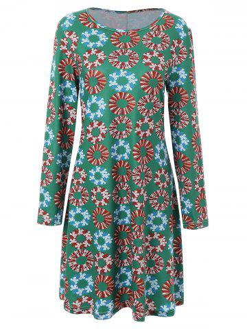 Shop Plus Size Christmas Garland Print Dress - 3XL GREEN Mobile