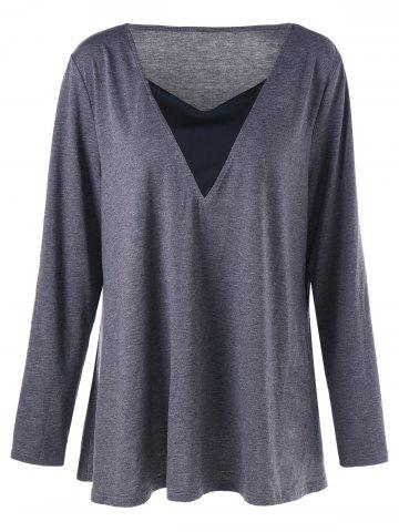 Discount V Neck Long Sleeve Plus Size Tunic T-shirt GRAY 2XL