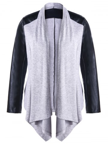 New Plus Size Raglan Sleeve Faux Leather Coat GRAY XL