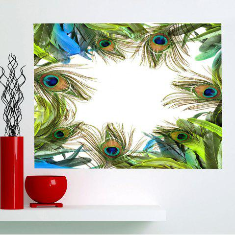 Sale Peacock Feathers Printed Multifunction Waterproof Wall Art Sticker - 1PC:24*35 INCH( NO FRAME ) GREEN Mobile