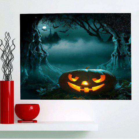 Best Moon Night Halloween Cave Pumpkin Wall Art Painting - 1PC:24*35 INCH( NO FRAME ) DEEP GREEN Mobile